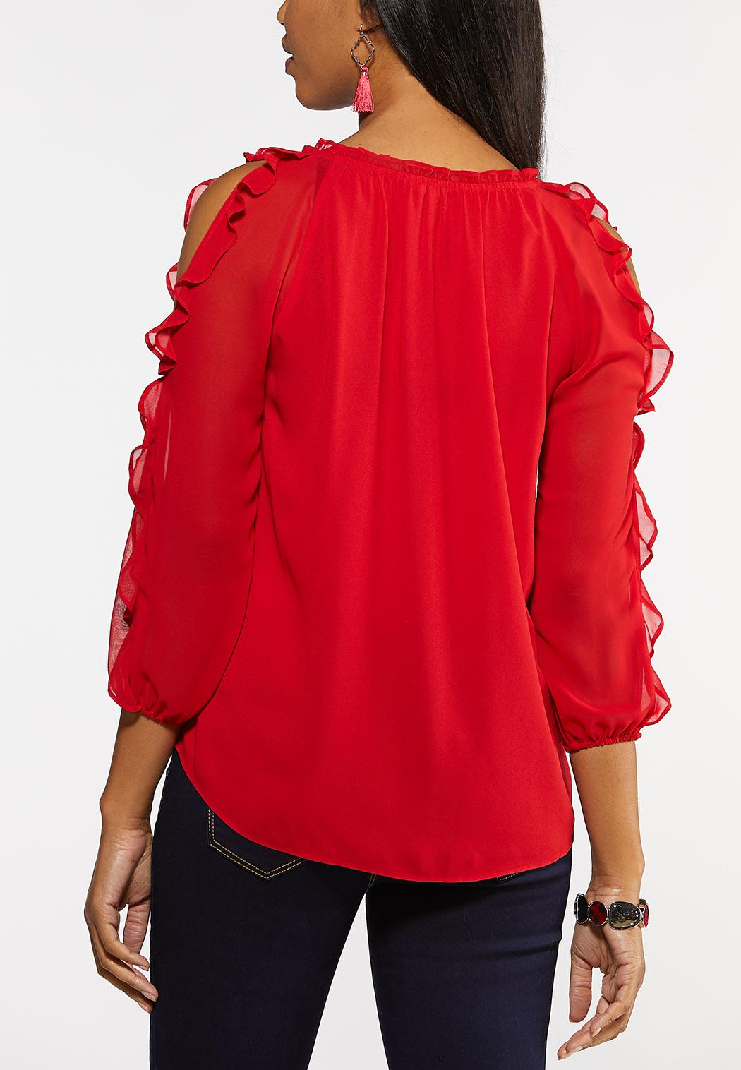 Plus Size Red Ruffled Sleeve Top (Item #44048474)