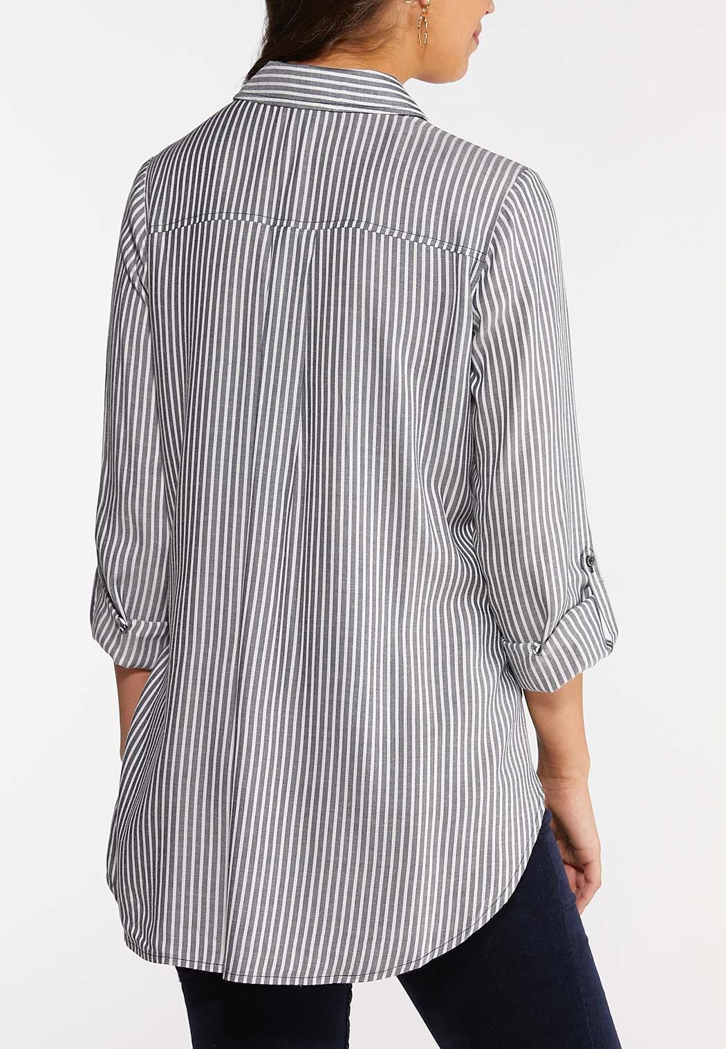 Navy Stripe Tie Waist Shirt (Item #44048574)