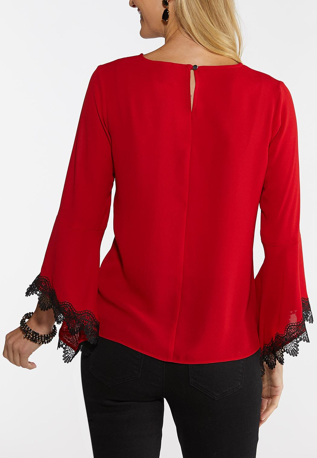 Plus Size Lace Bell Sleeve Top (Item #44048575)