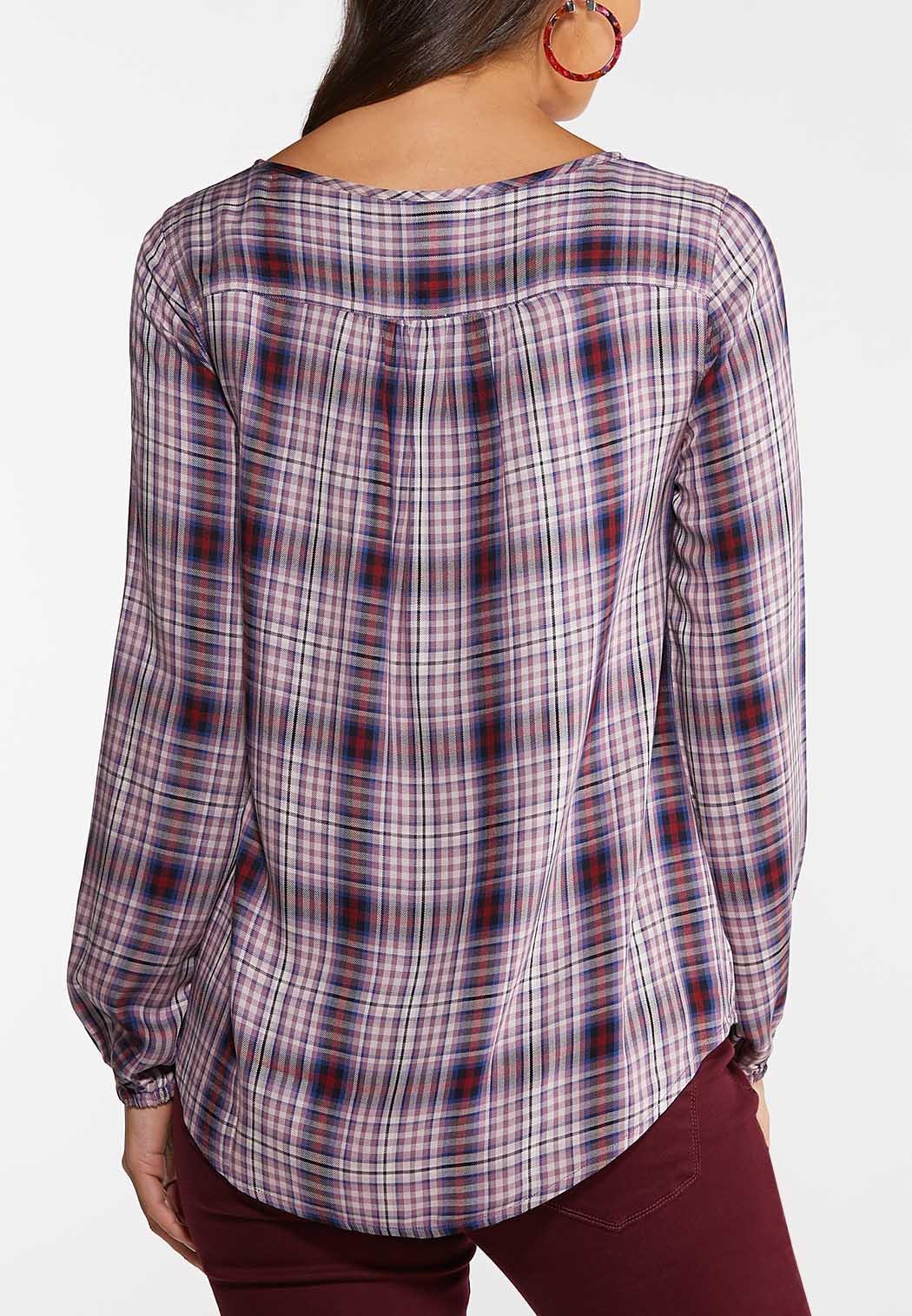 Plus Size Lavender Plaid Poet Shirt (Item #44048686)