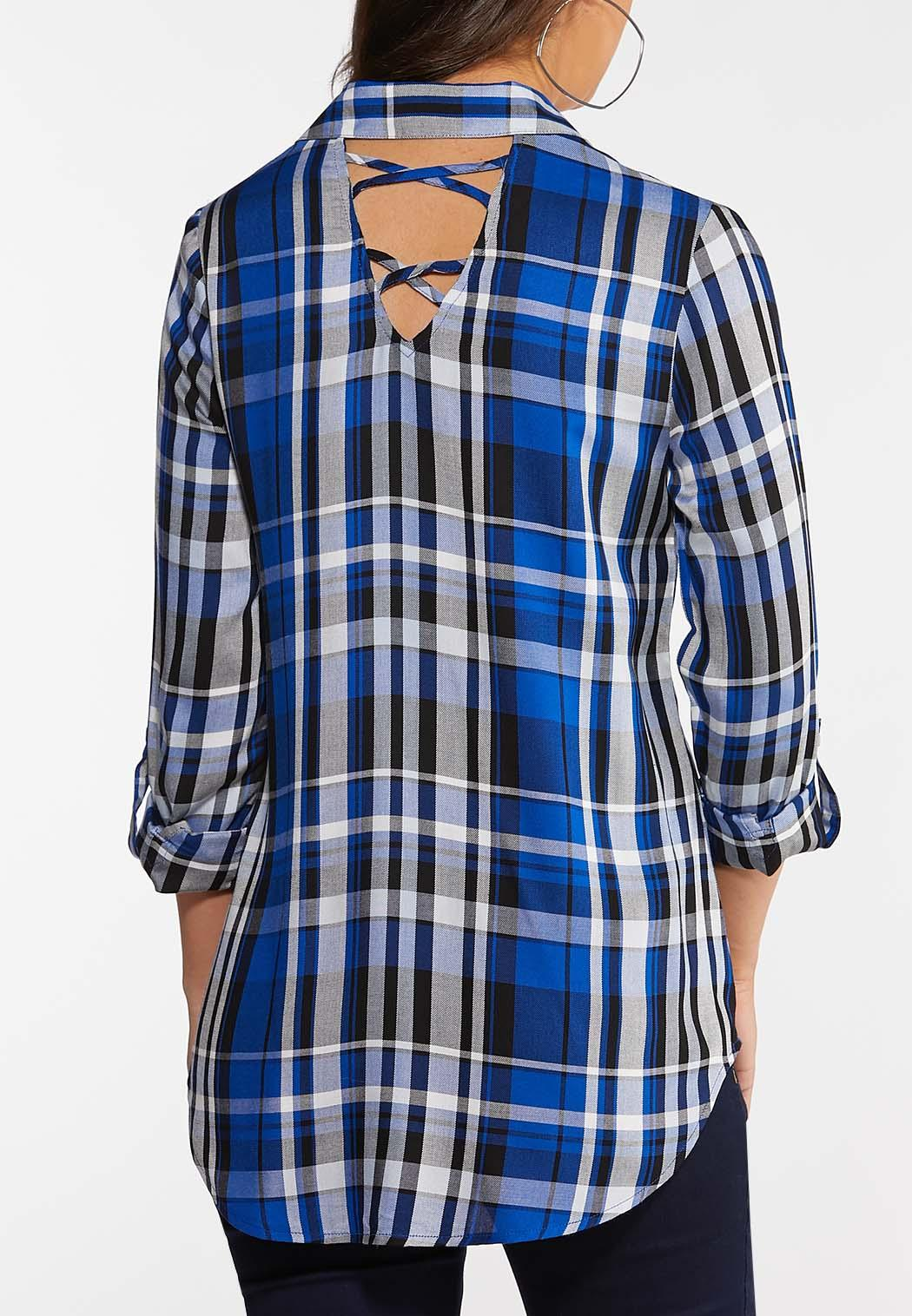 Plus Size Royal Plaid Shirt (Item #44048729)