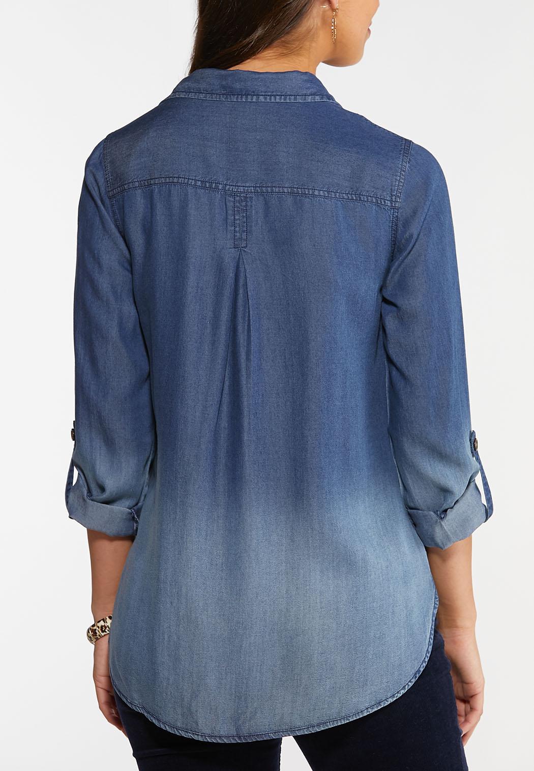 Plus Size Faded Chambray Shirt Shirts & Amp ; Blouses Cato Fashions