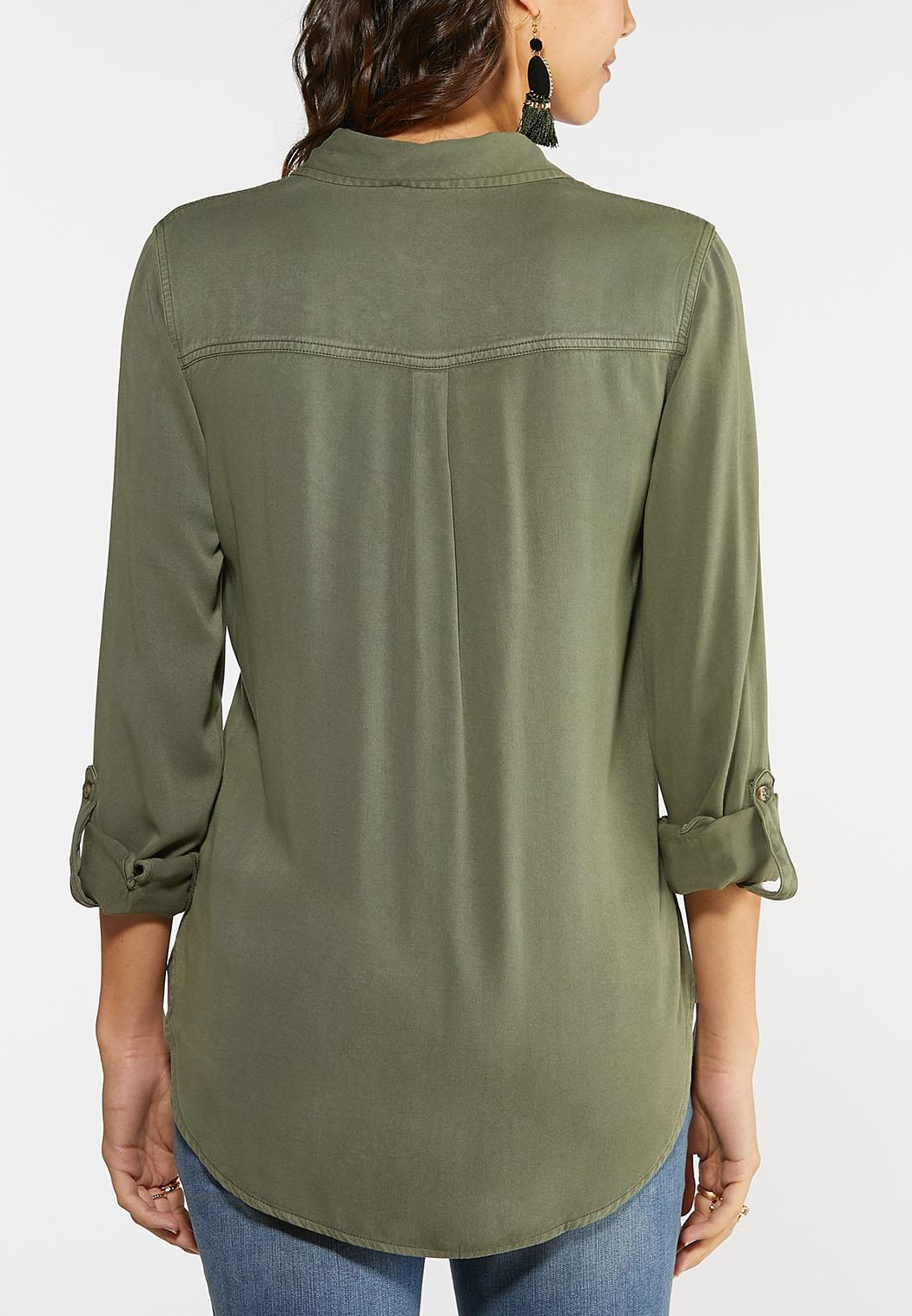 Plus Size Utility Button Down Shirt (Item #44049007)