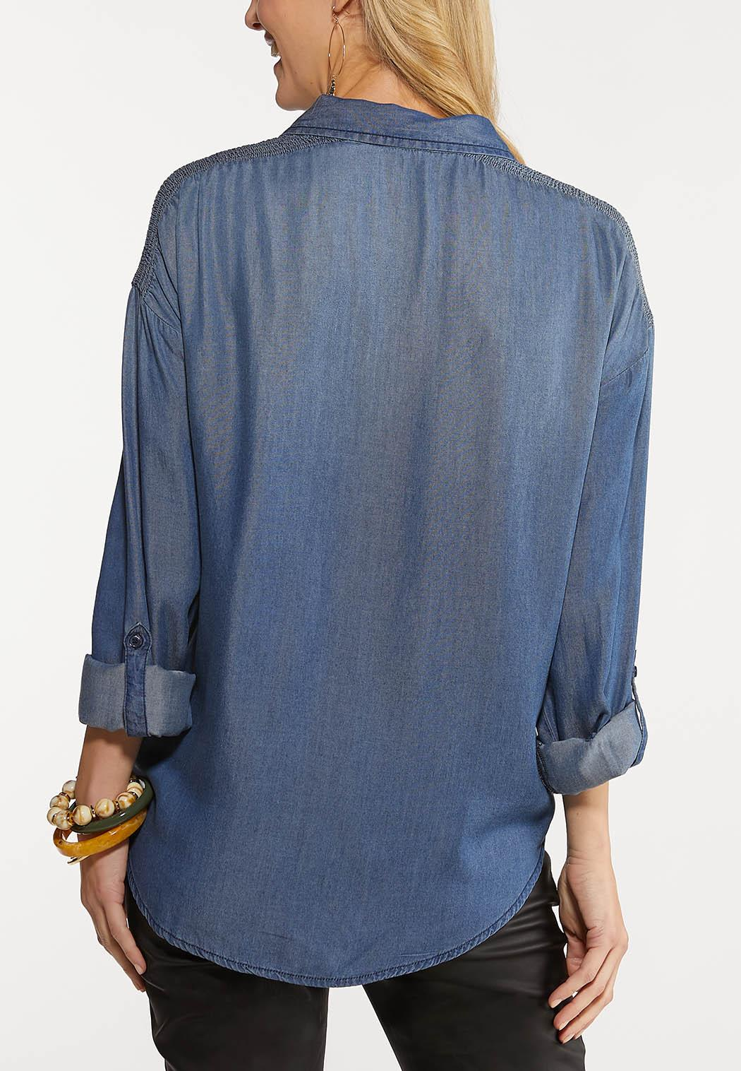 Plus Size Chambray Smocked Shoulder Top (Item #44049038)