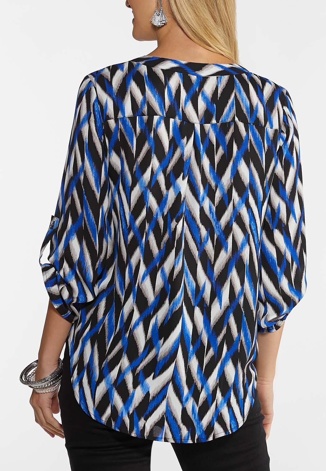 Blue Geo Pullover Top (Item #44049336)