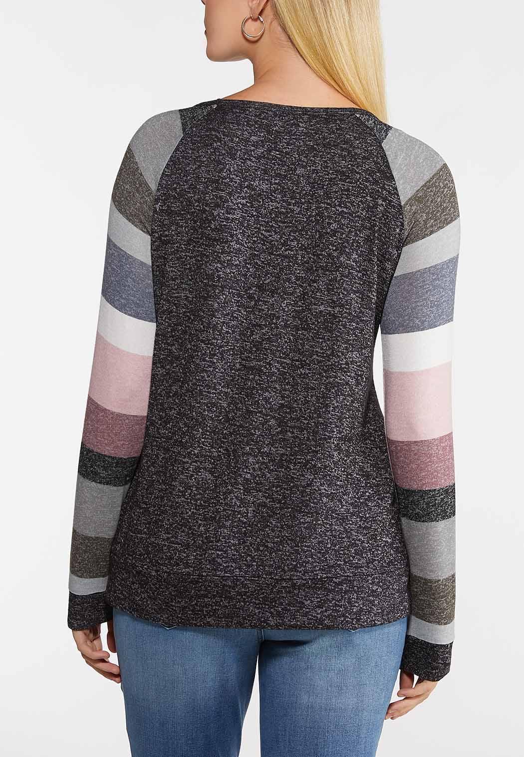 Plus Size Colorblock Raglan Top (Item #44049793)