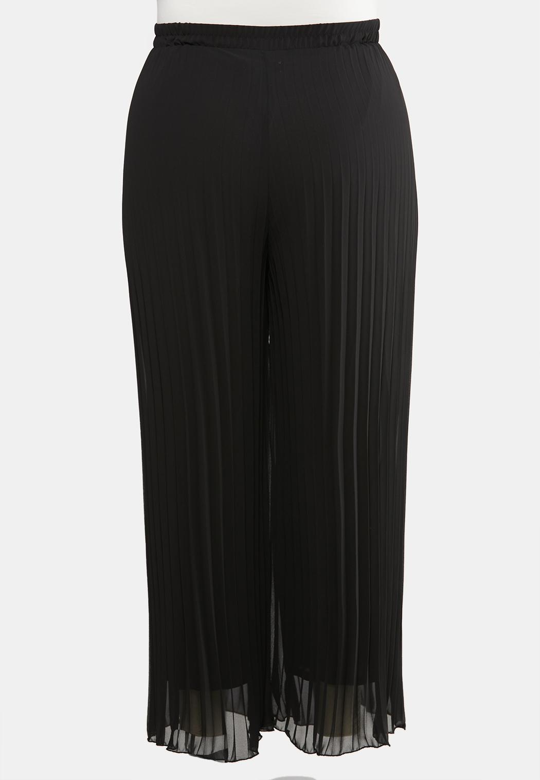 Plus Size Pleated Wide Leg Pants (Item #44049892)