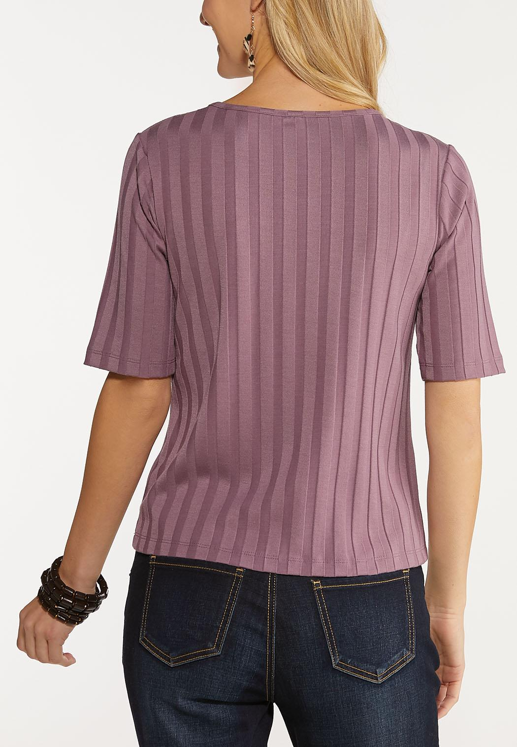 Plus Size Ribbed Button Down Skimmer Top (Item #44050220)