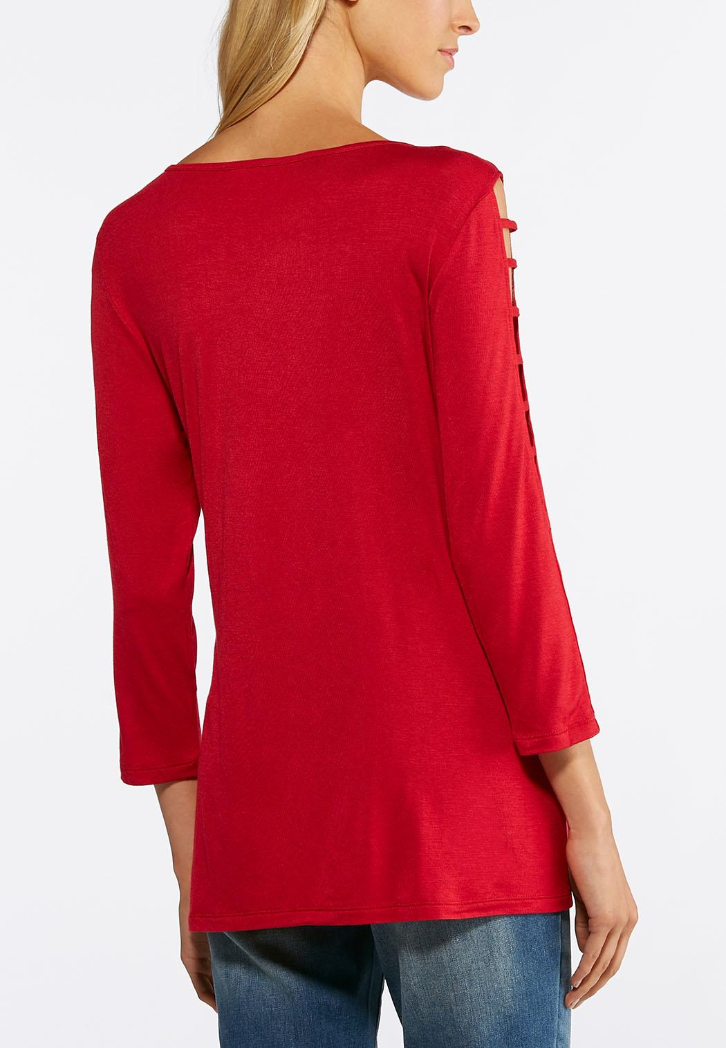 Plus Size Ladder Sleeve Knit Top (Item #44050320)