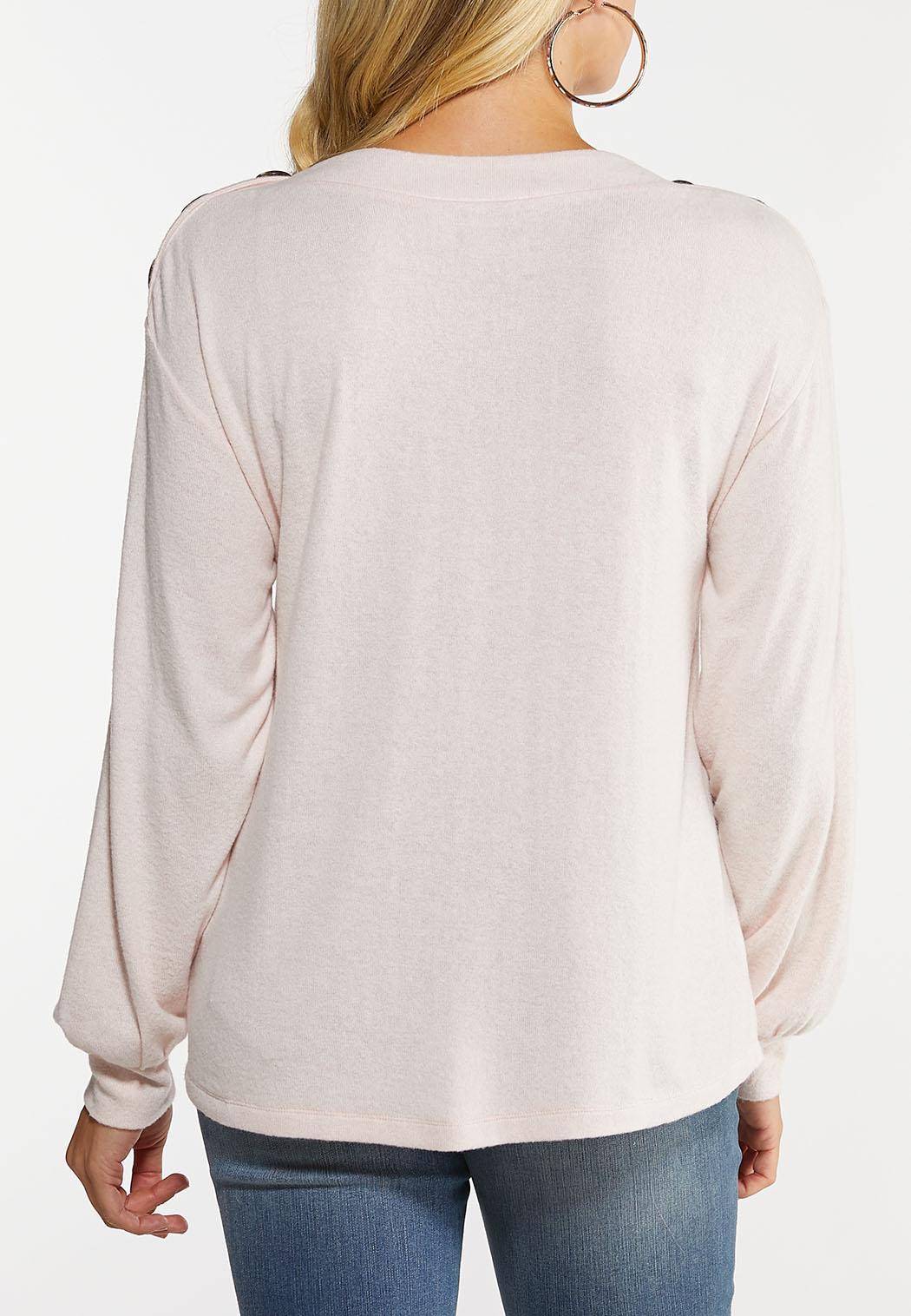 Plus Size Soft Button Shoulder Top (Item #44050454)