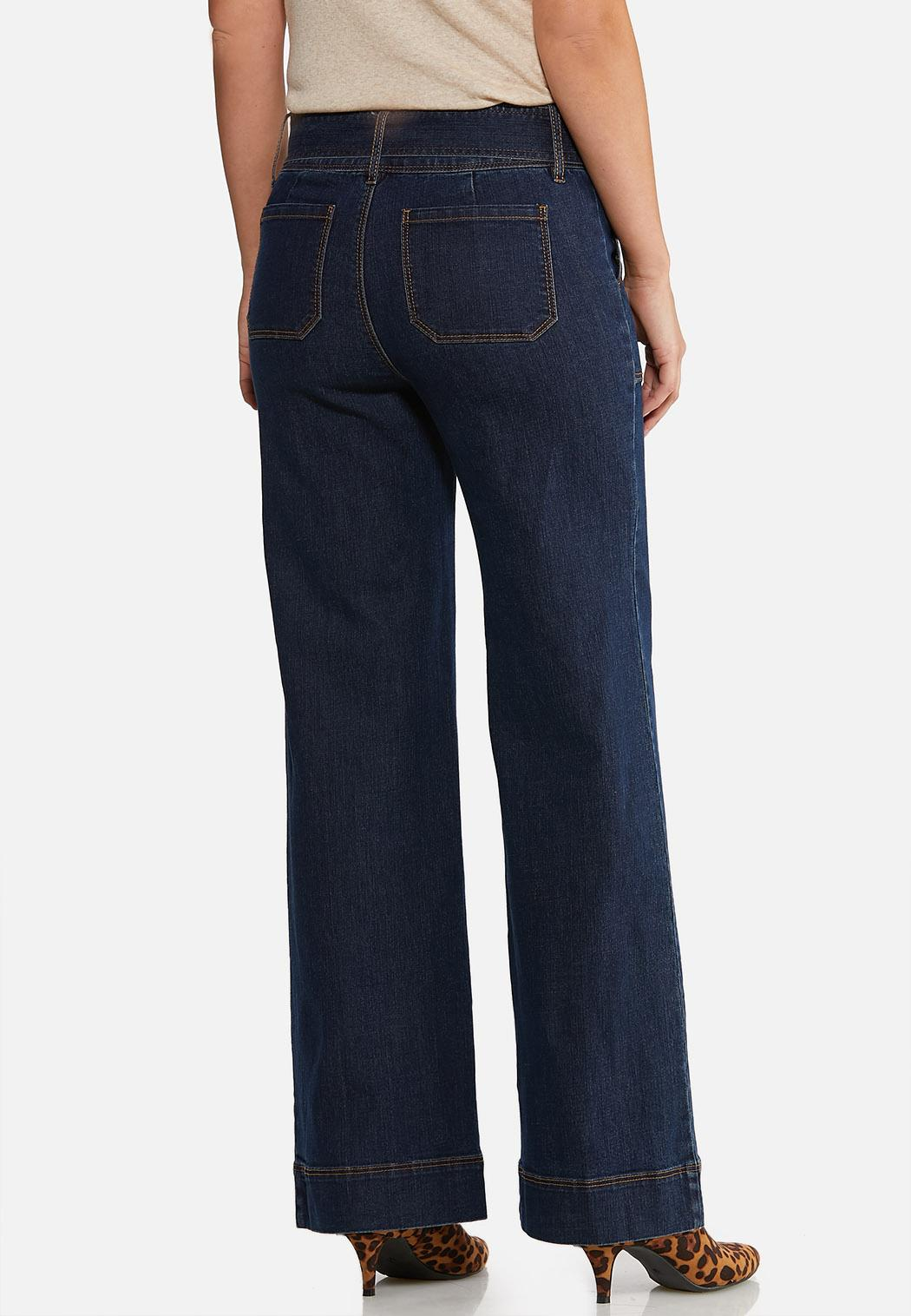 Petite Wide Leg Belted Jeans (Item #44050519)