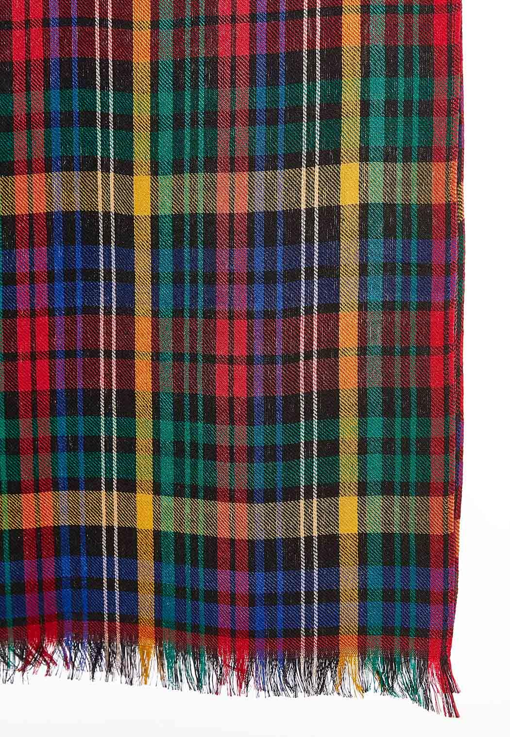 Colorful Plaid Oblong Scarf (Item #44051017)
