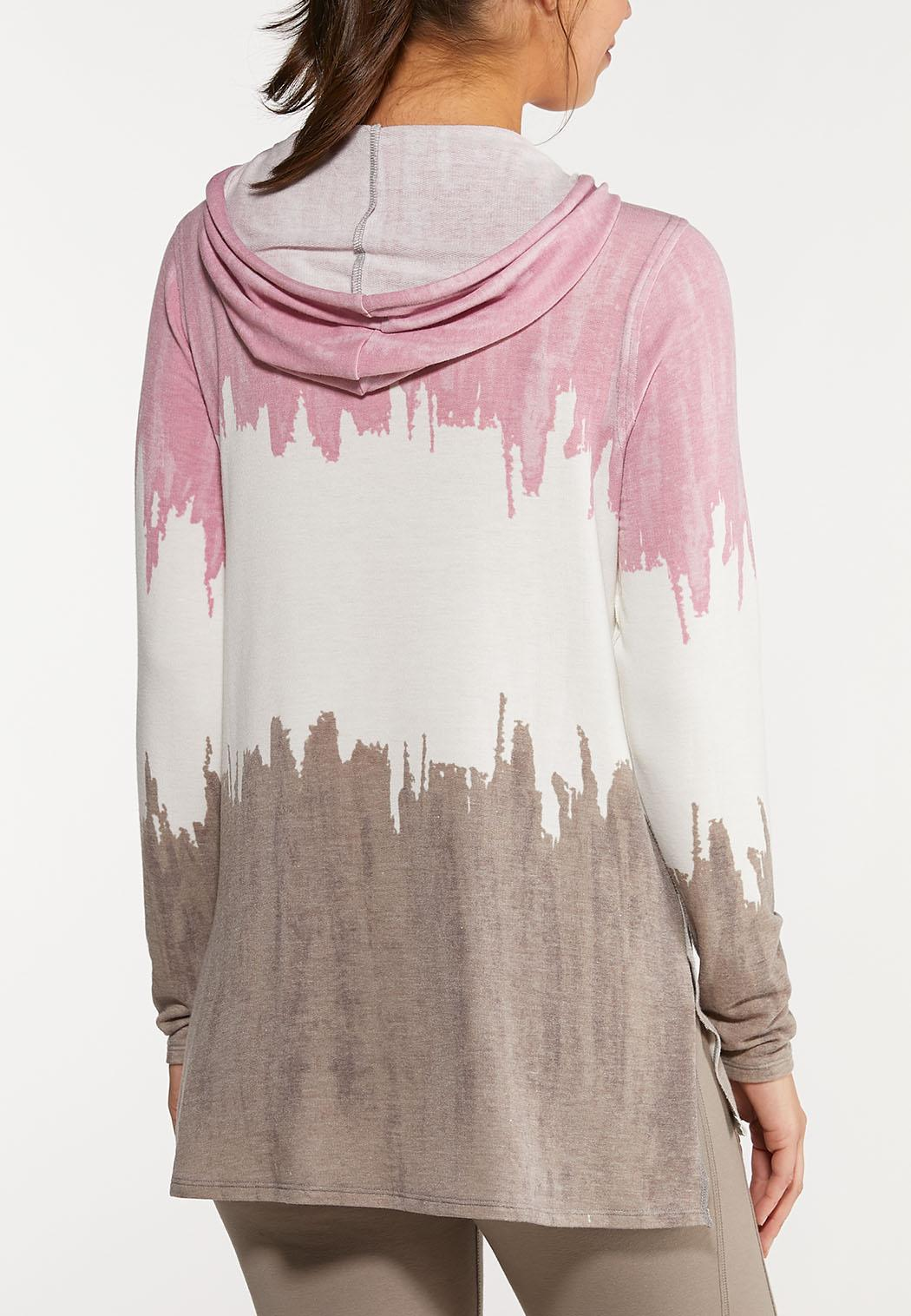 Plus Size Dip Dye Hooded Top (Item #44051096)