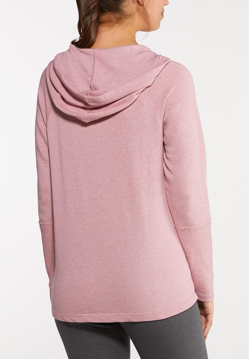 Plus Size Reverse Stitch Hood Top (Item #44051129)