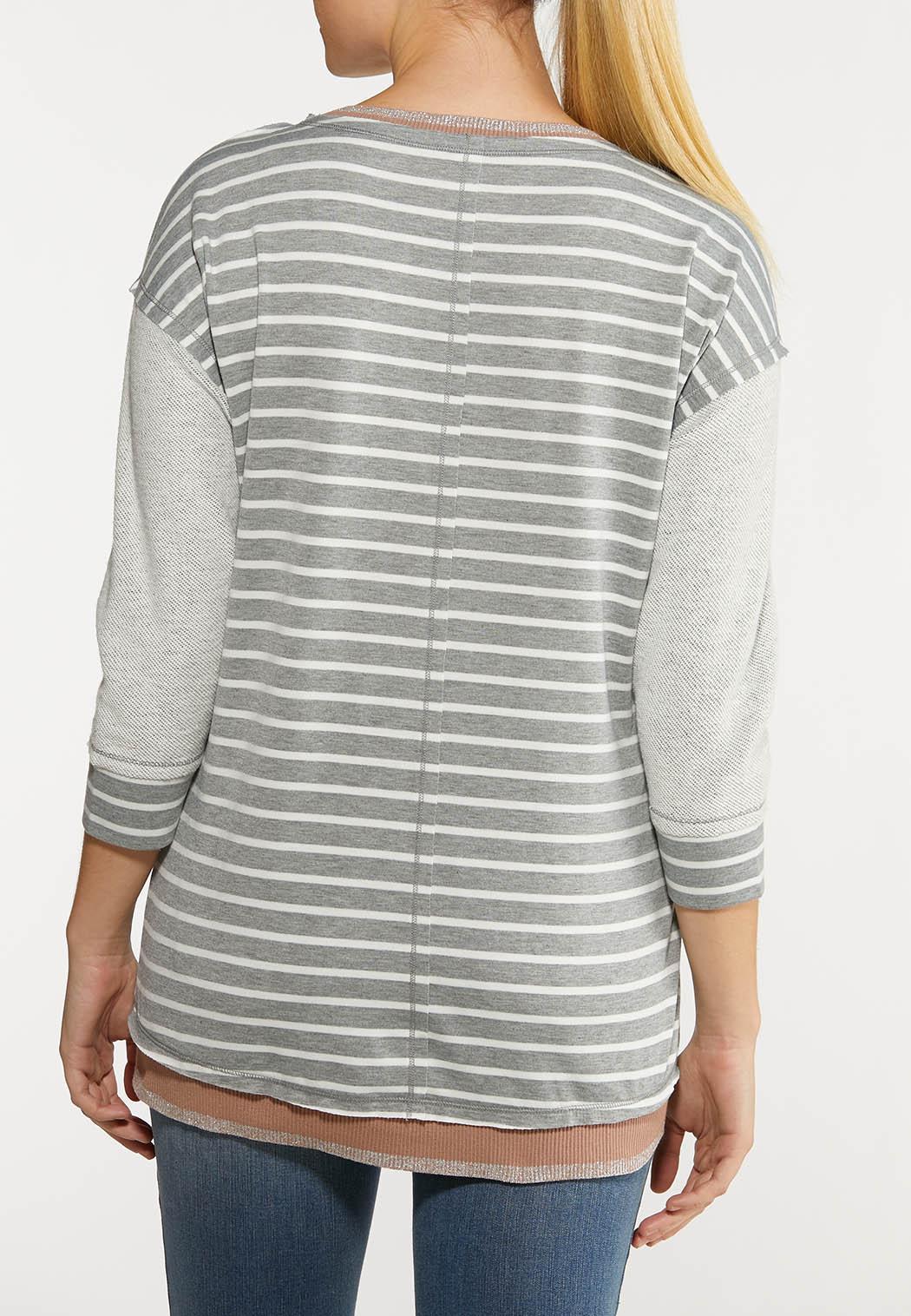 Plus Size Shimmer And Stripe Sweatshirt (Item #44051194)