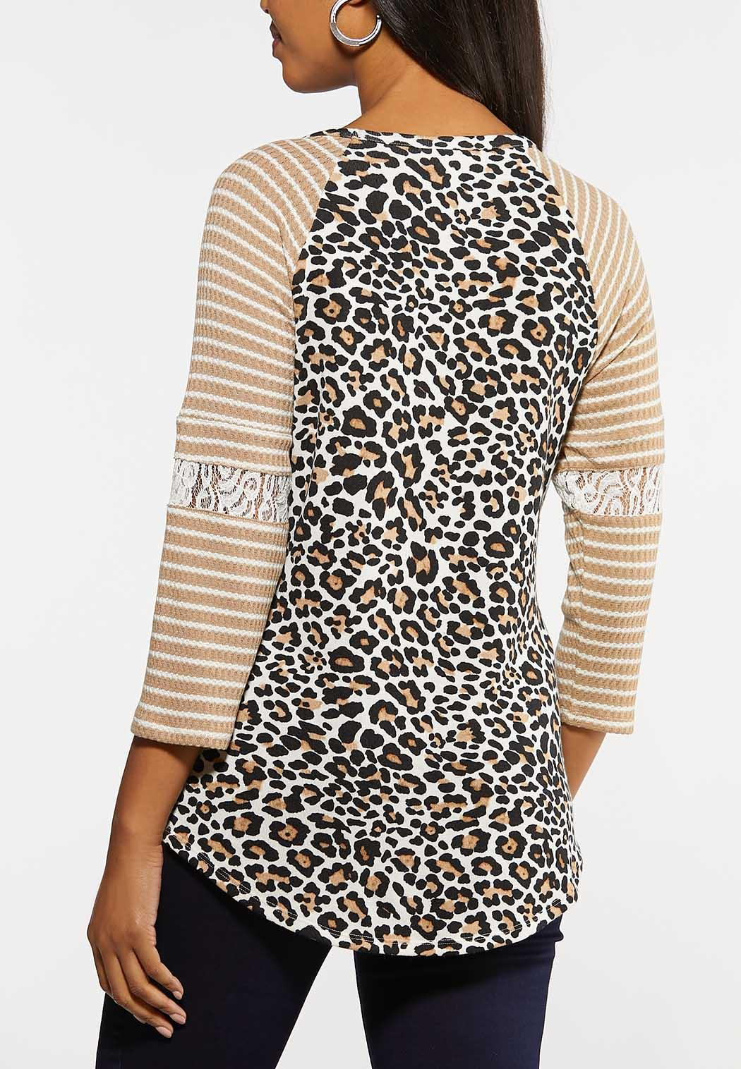 Plus Size Lace Leopard Baseball Top (Item #44051250)