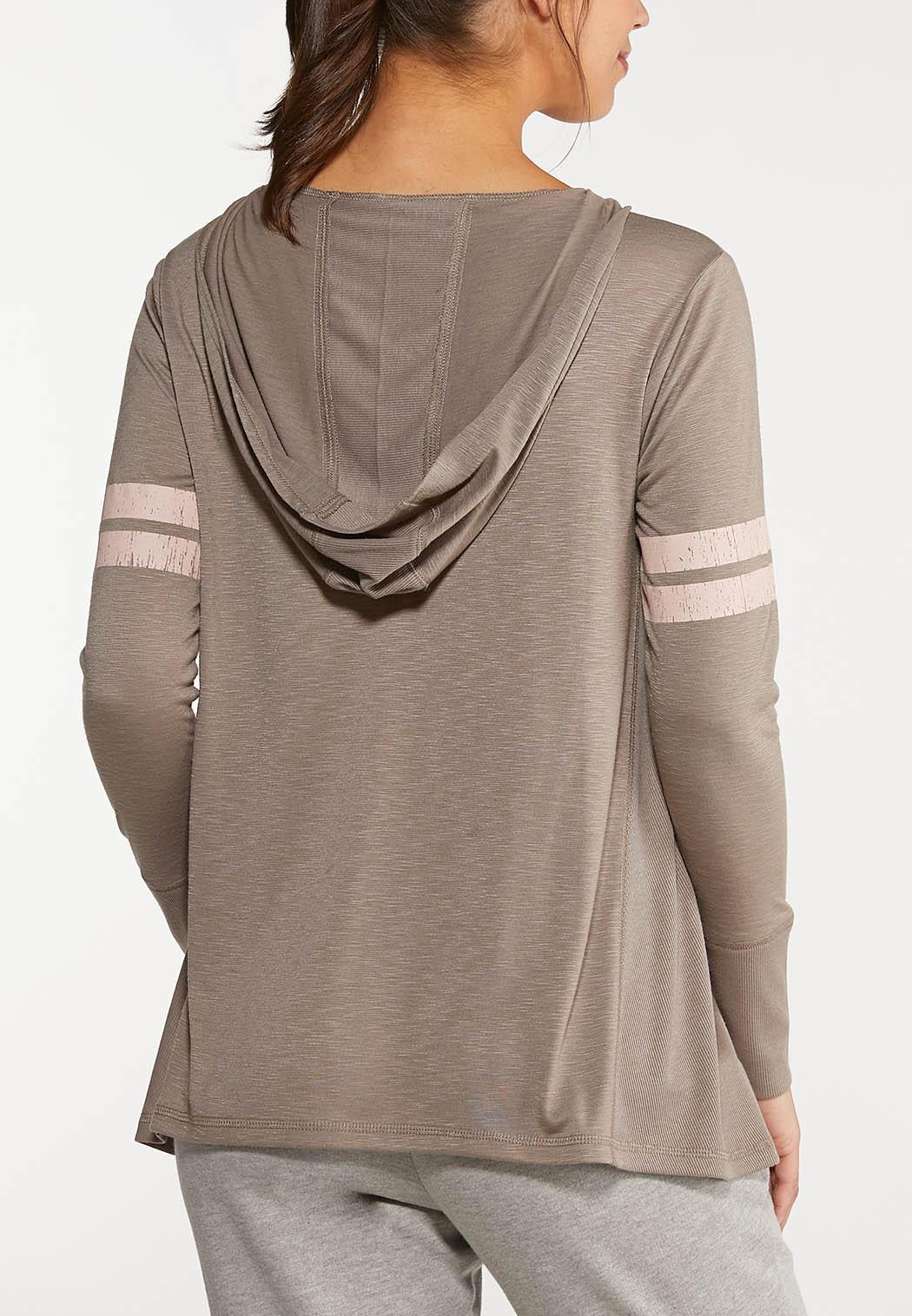 Plus Size Sporty Hooded Top (Item #44051275)