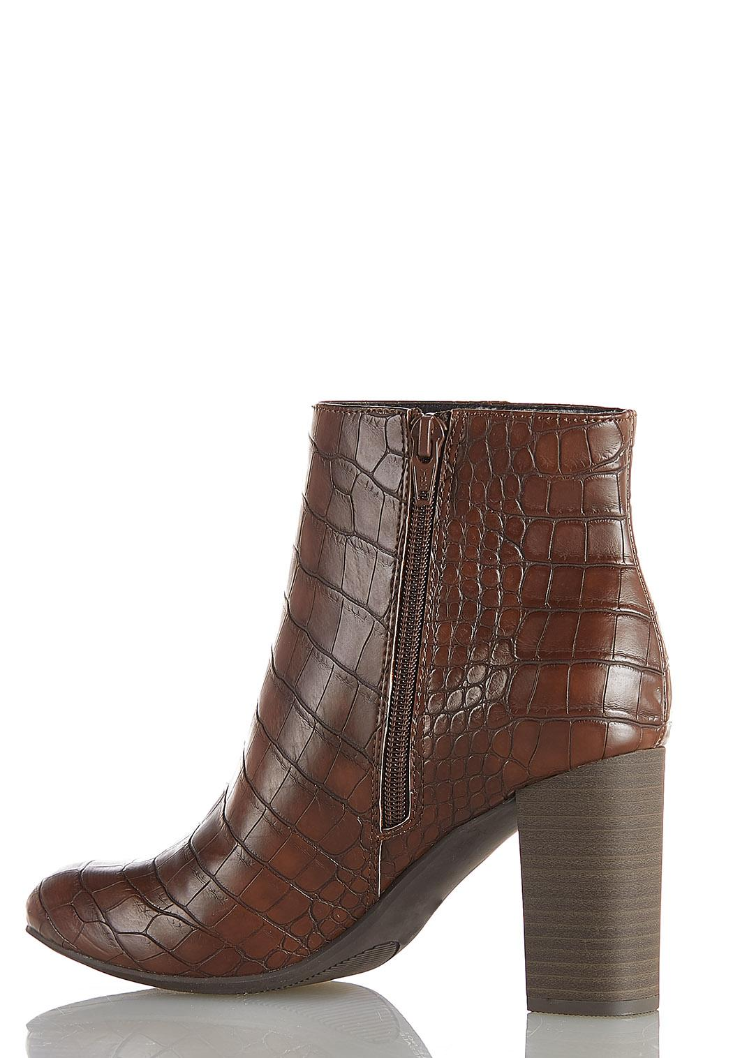 Wide Width Croc Textured Ankle Boots (Item #44051741)