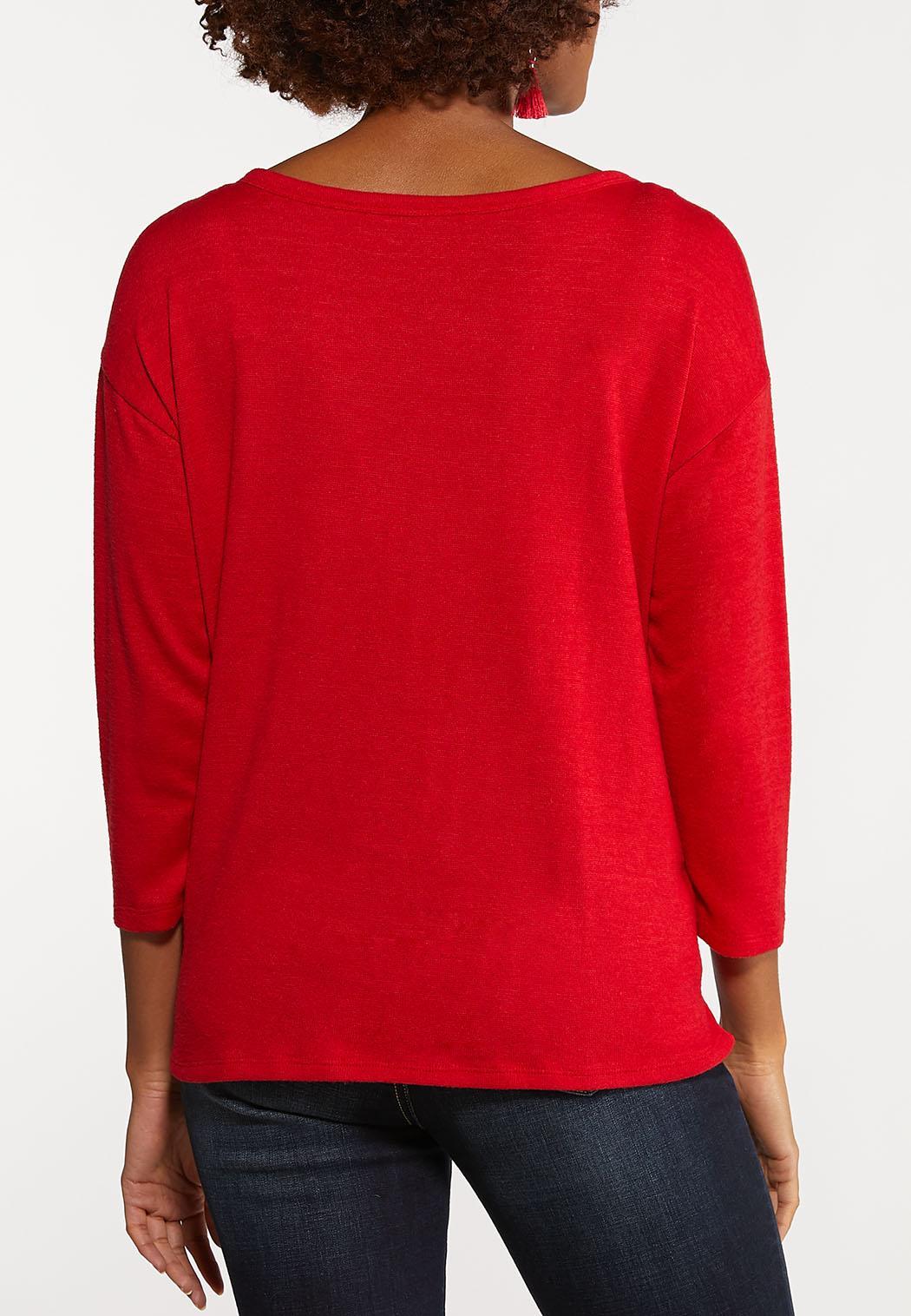 Plus Size Tie Front Dolman Top (Item #44051998)