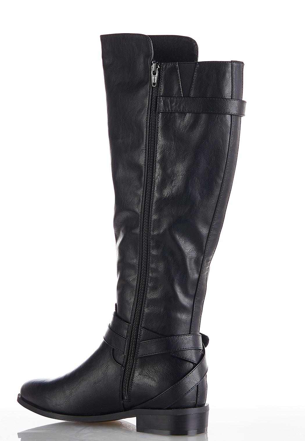 Wide Width Buckle Strap Riding Boots (Item #44052064)