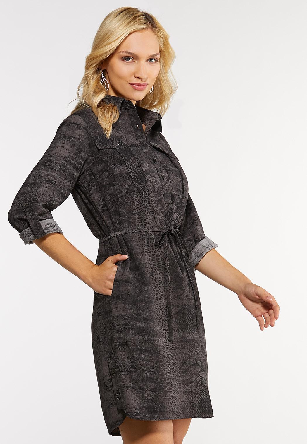 Snakeskin Print Shirt Dress (Item #44052117)