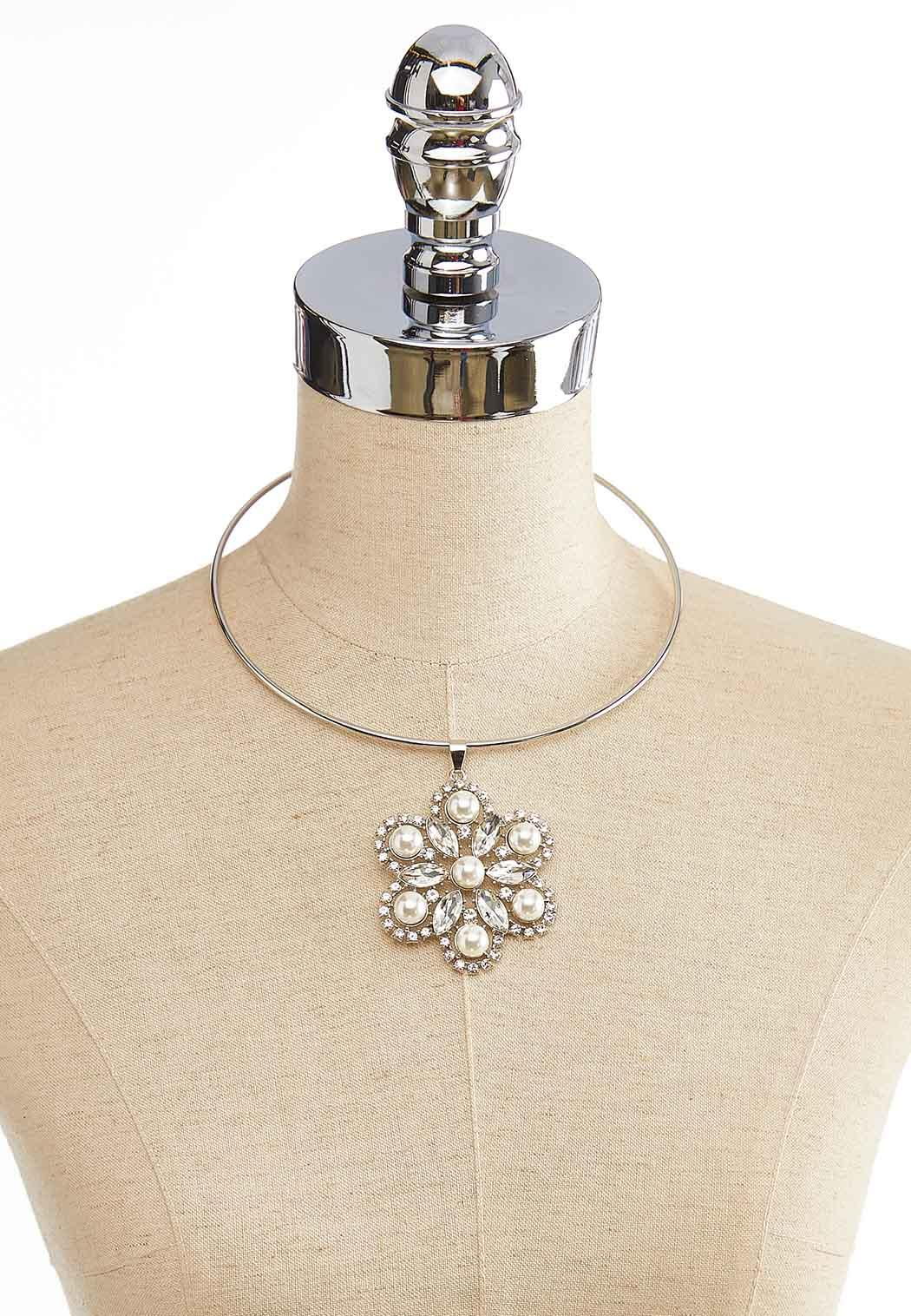 Flower Pendant Wire Necklace (Item #44052207)