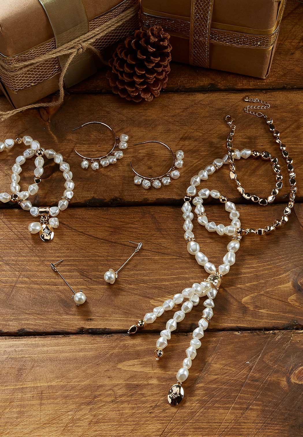 Pearl Charm Hoop Earrings (Item #44052244)