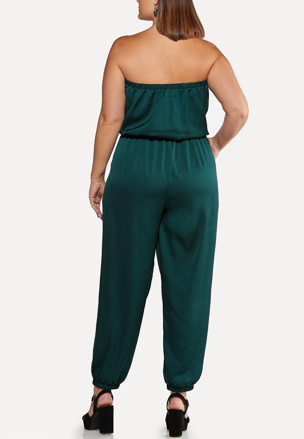 Plus Size Satiny Green Jumpsuit (Item #44052250)