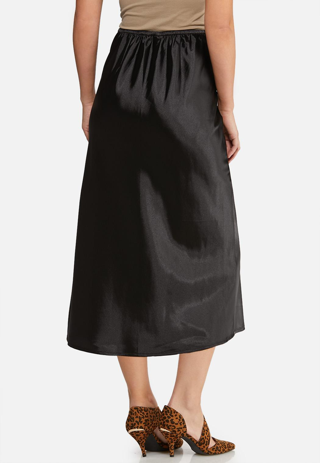 Plus Size Satin Slip Midi Skirt (Item #44052387)