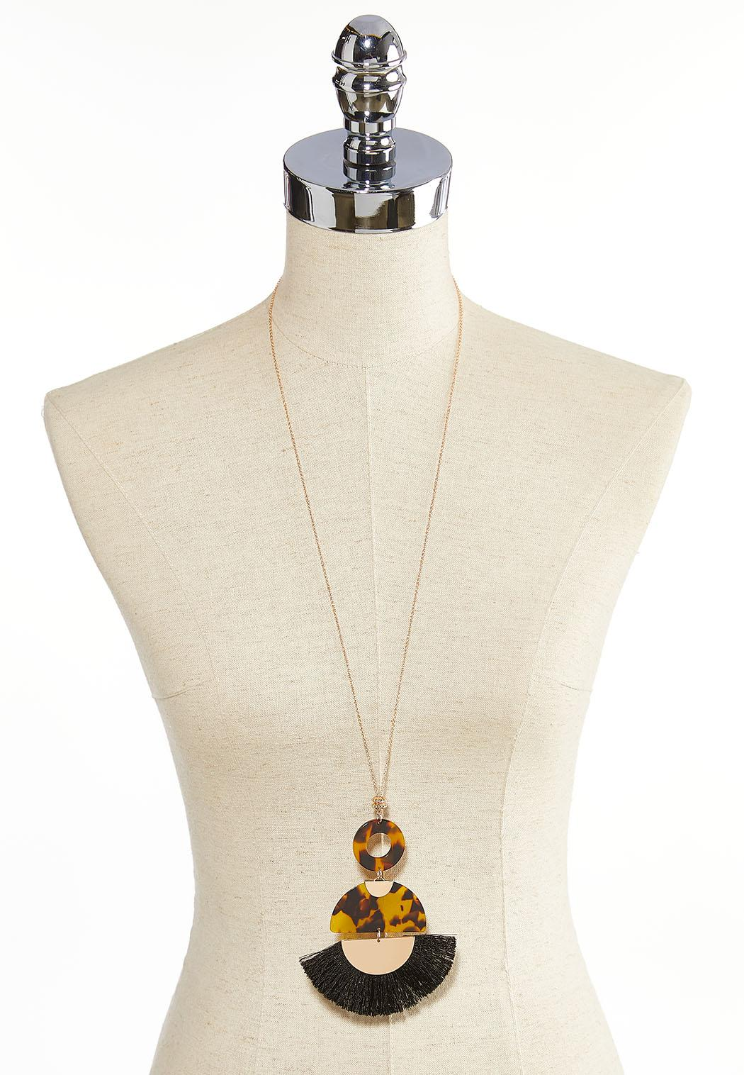 Fringed Tortoise Shell Lucite Necklace (Item #44052490)
