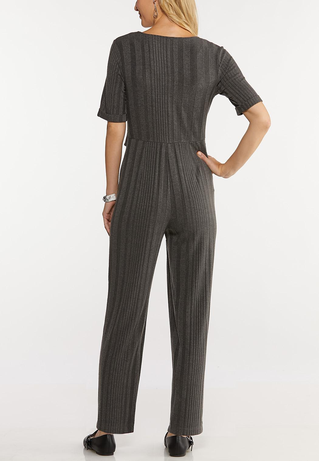 Plus Size Ribbed Elbow Sleeve Jumpsuit (Item #44052612)