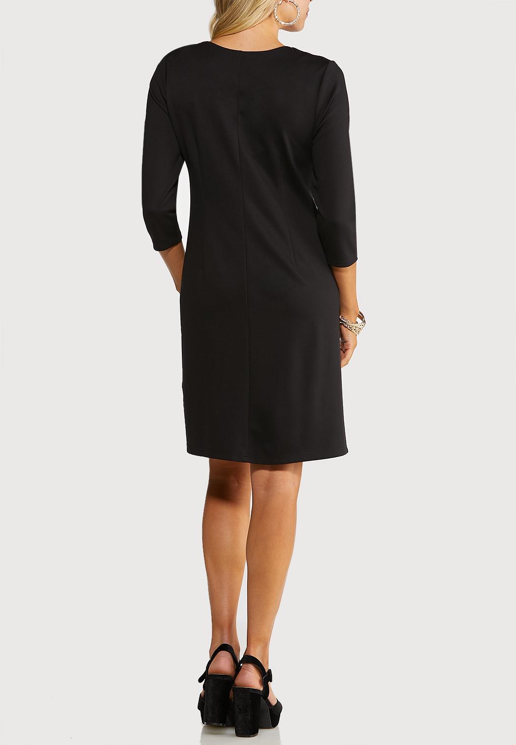 Plus Size Grommet Ponte Dress (Item #44052631)
