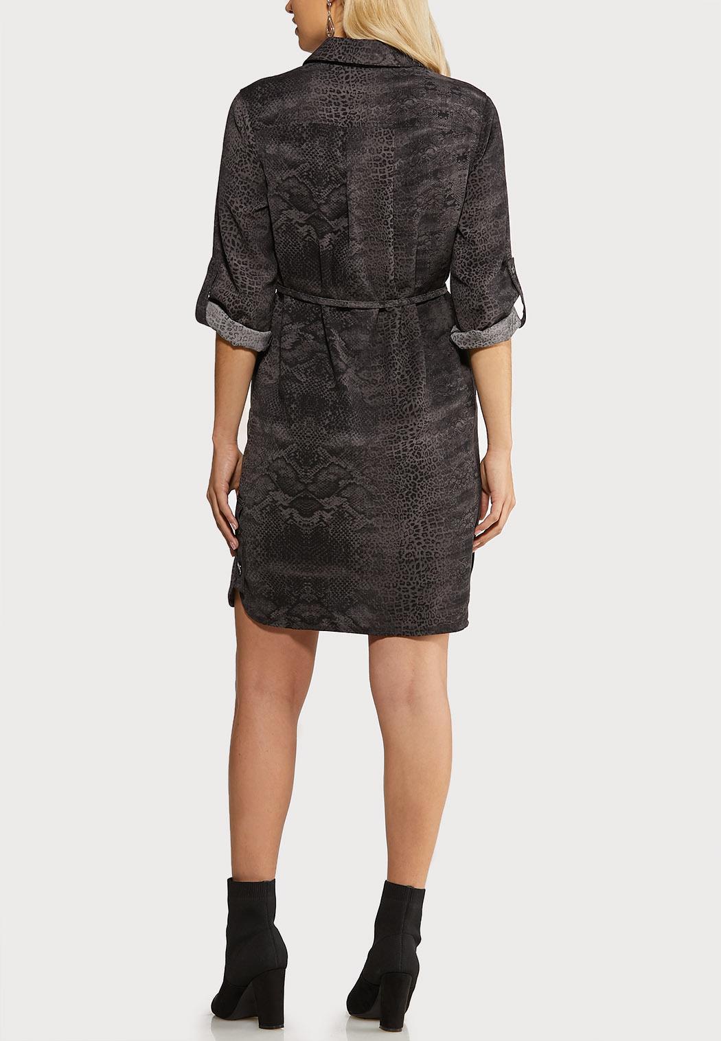 Plus Size Snakeskin Print Shirt Dress (Item #44052770)