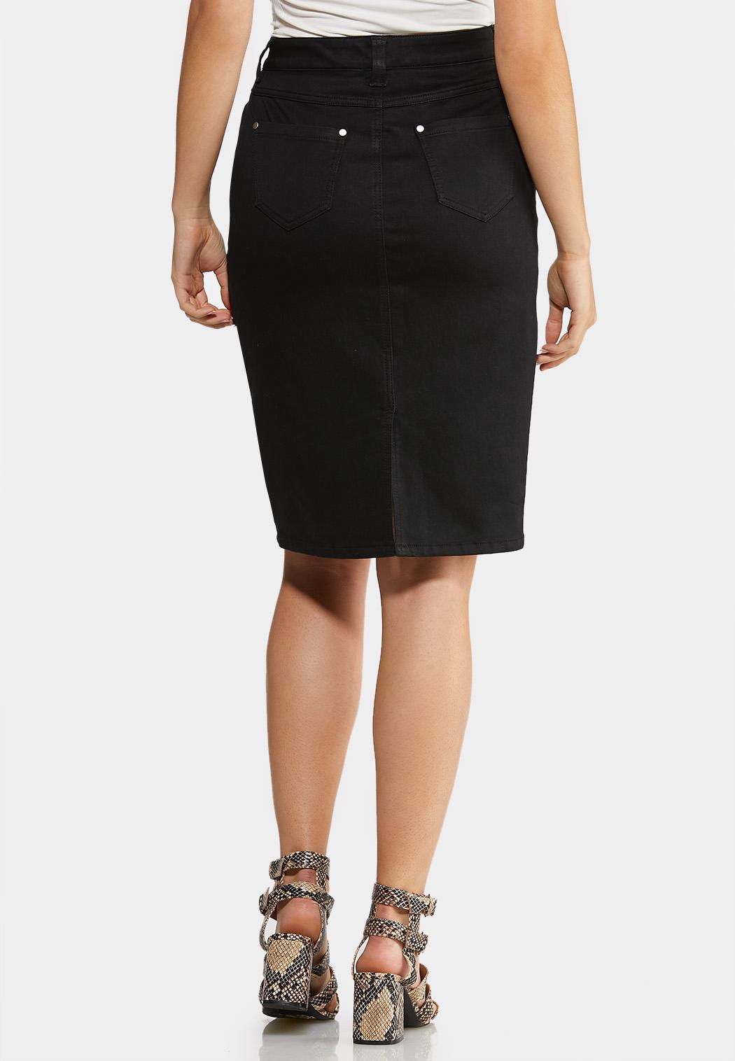 Plus Size Black Denim Skirt (Item #44053652)