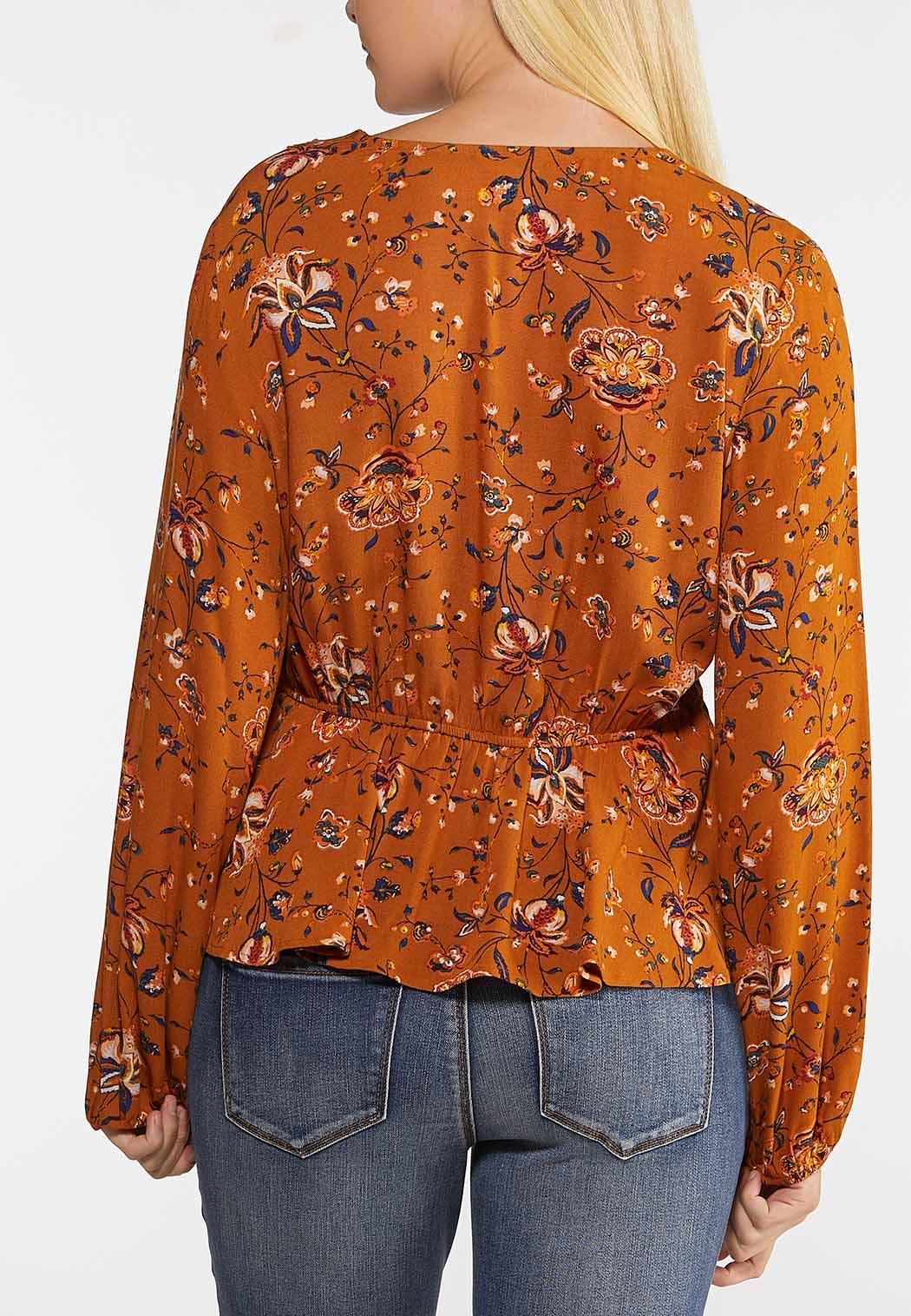 Plus Size Floral Faux Wrap Top (Item #44054910)