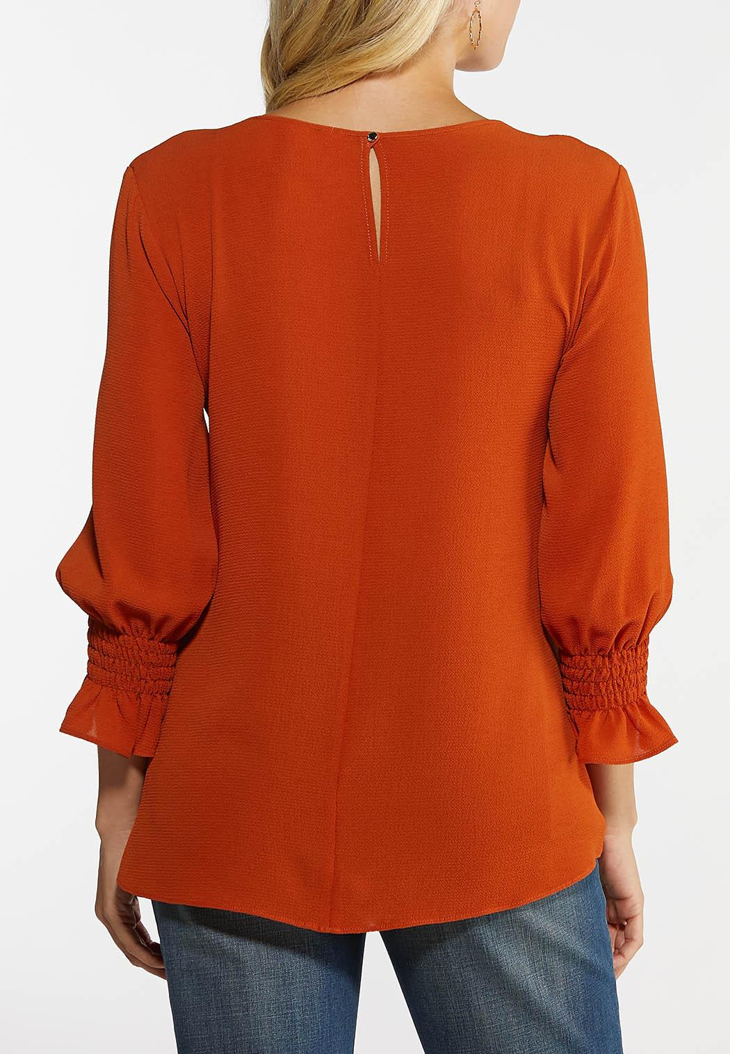 Plus Size Rust Smocked Sleeve Top (Item #44055132)