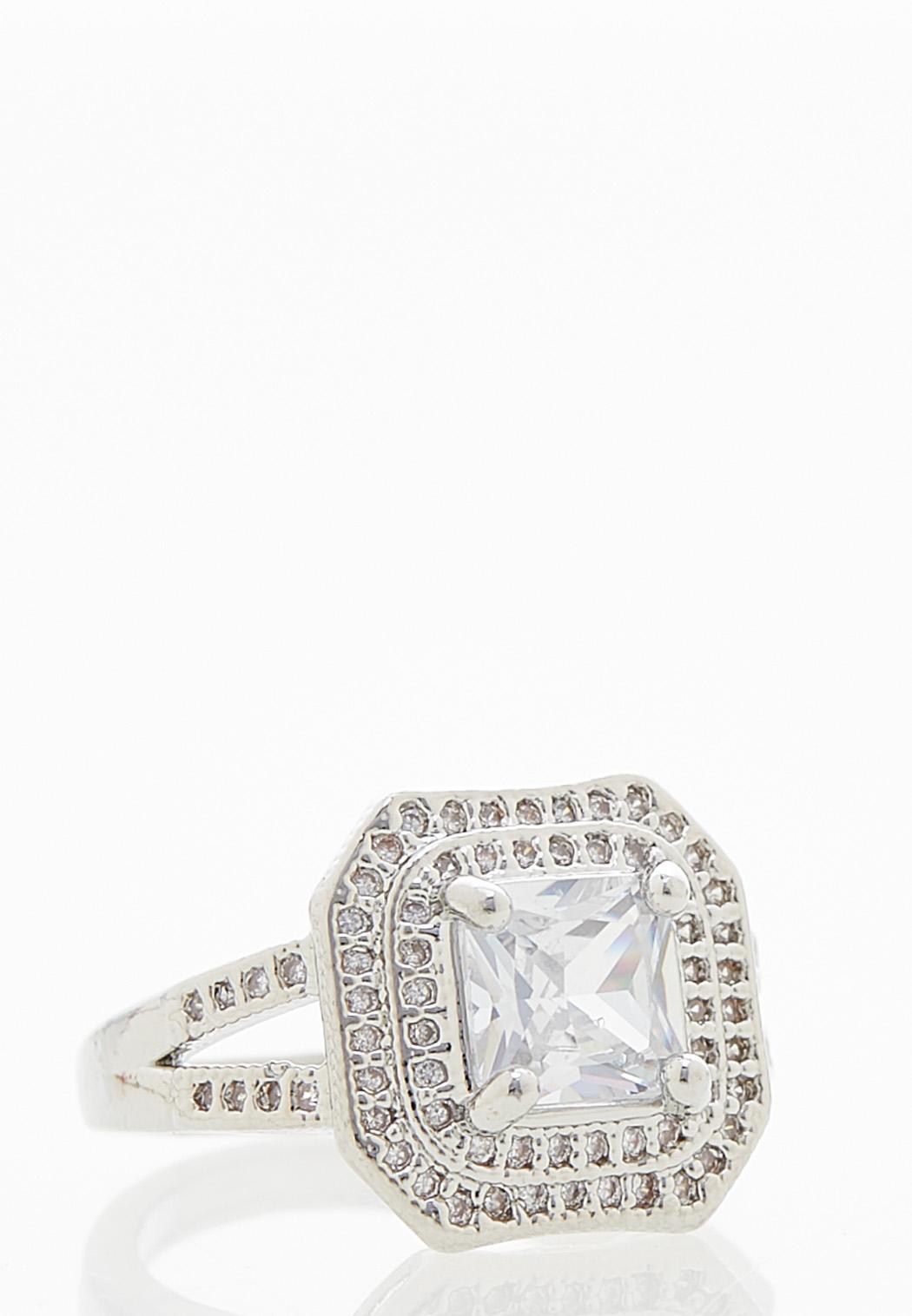 Cubic Zirconia Halo Ring (Item #44056150)