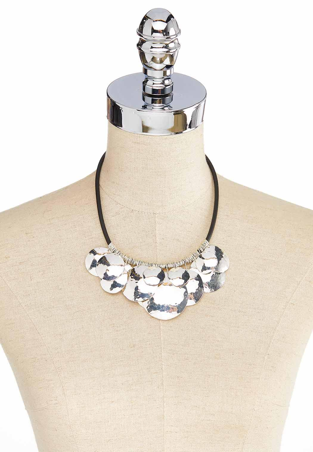 Hammered Disc Cord Necklace (Item #44056163)