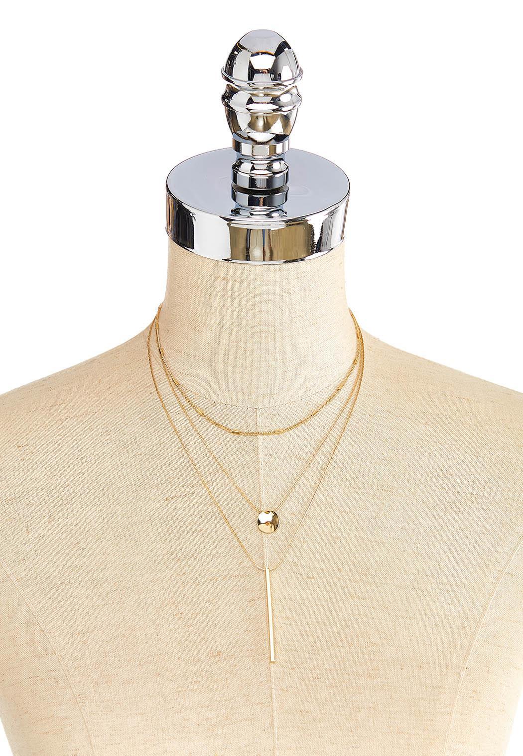 Layered Bar Disc Pendant Necklace (Item #44056266)