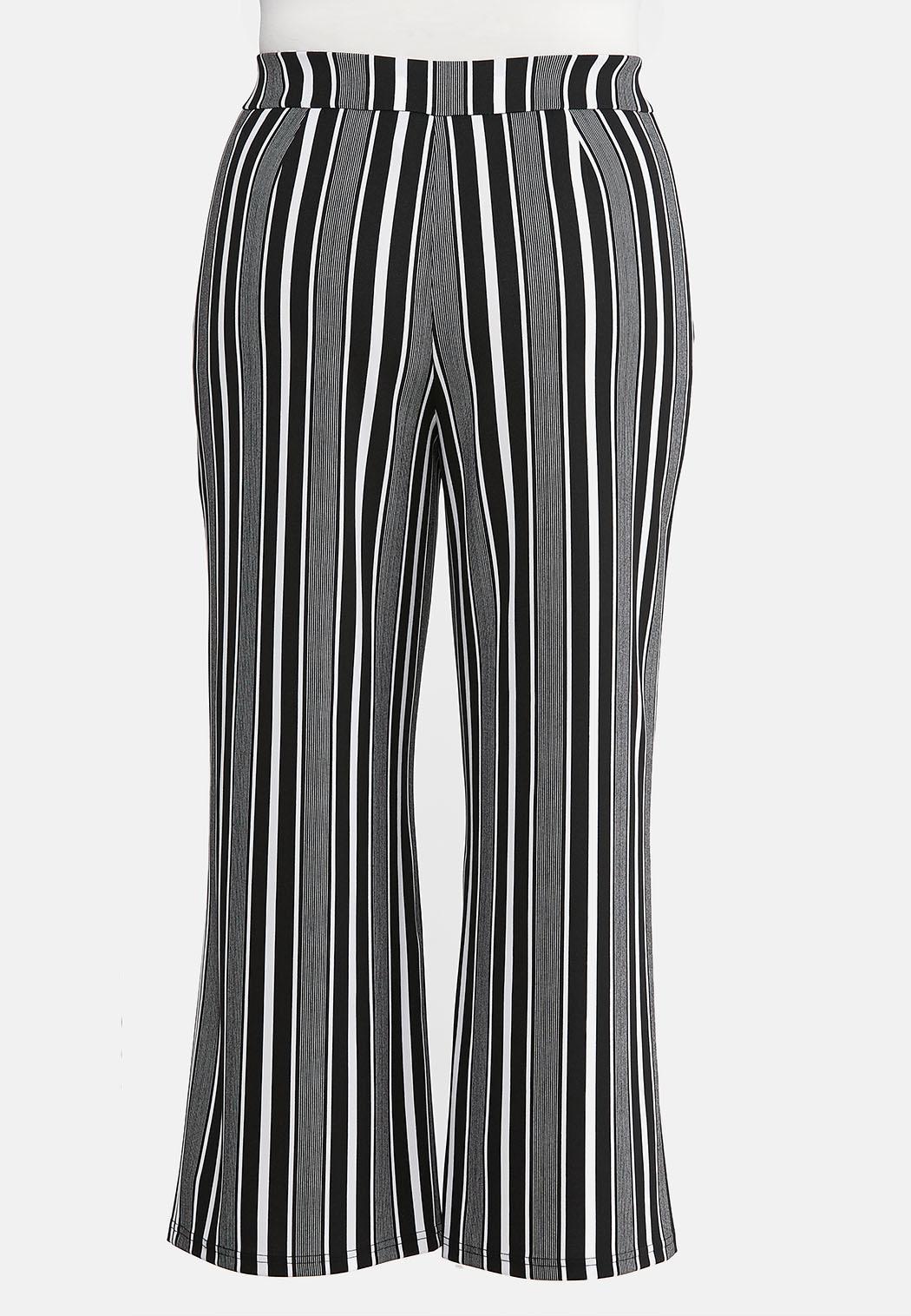 Plus Size Modern Stripe Wide Leg Pants (Item #44057112)