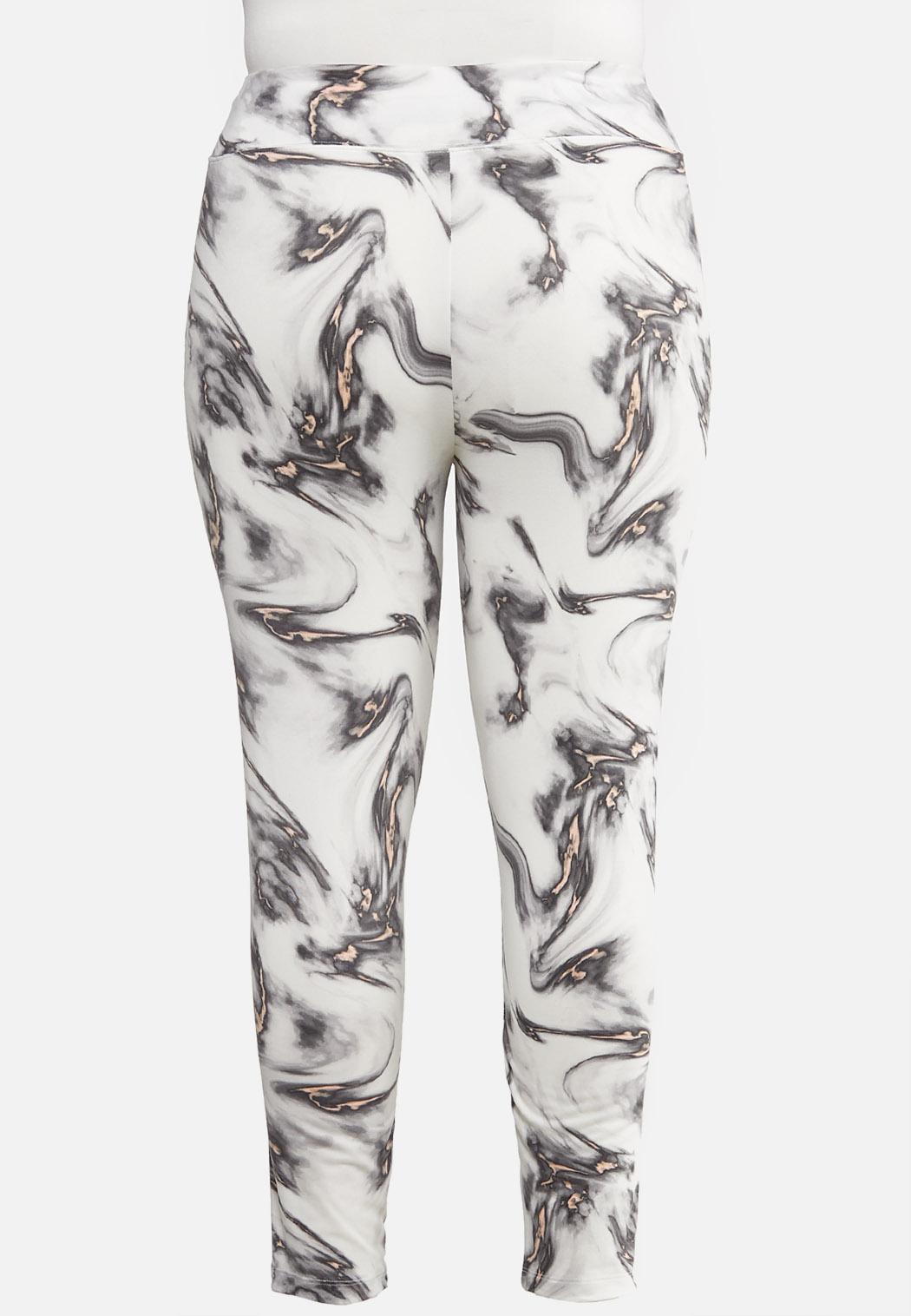 Plus Size Soft Marbled Leggings (Item #44057318)