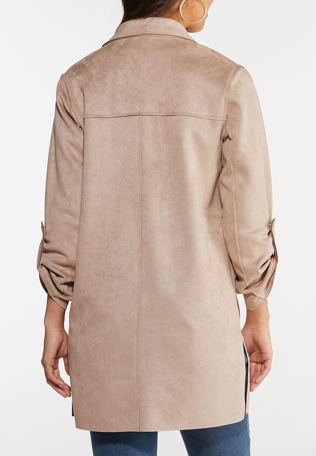 Plus Size Suede Blazer Jacket (Item #44057356)