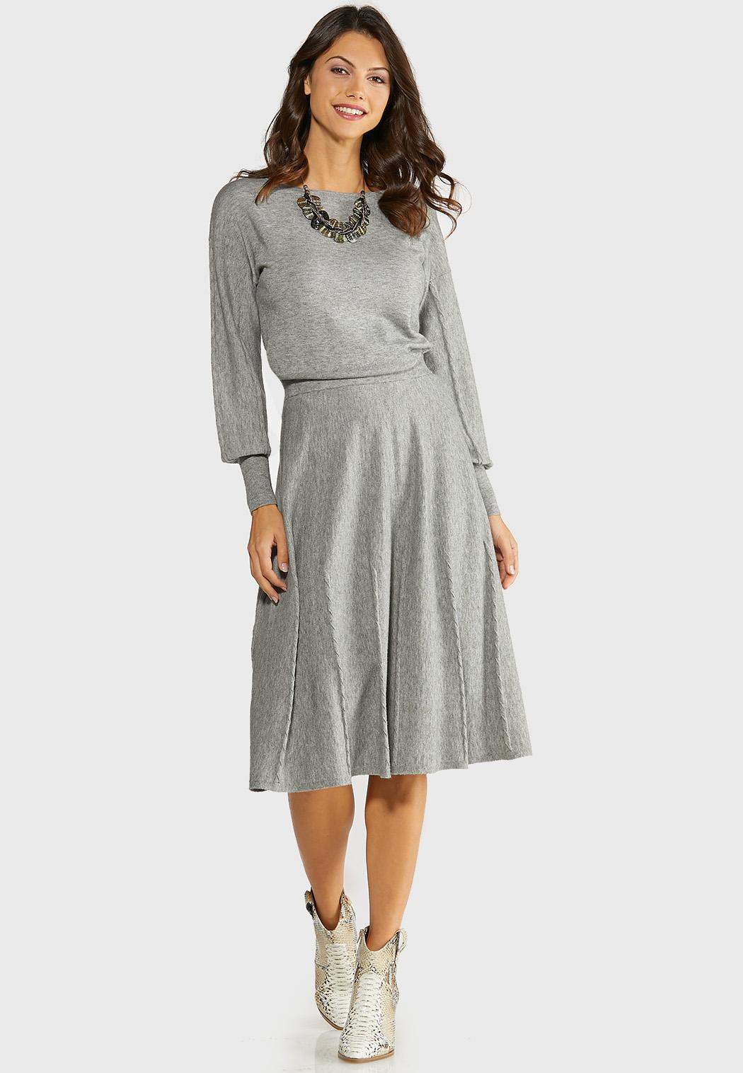 Plus Size Gray Cable Knit Skirt (Item #44057585)