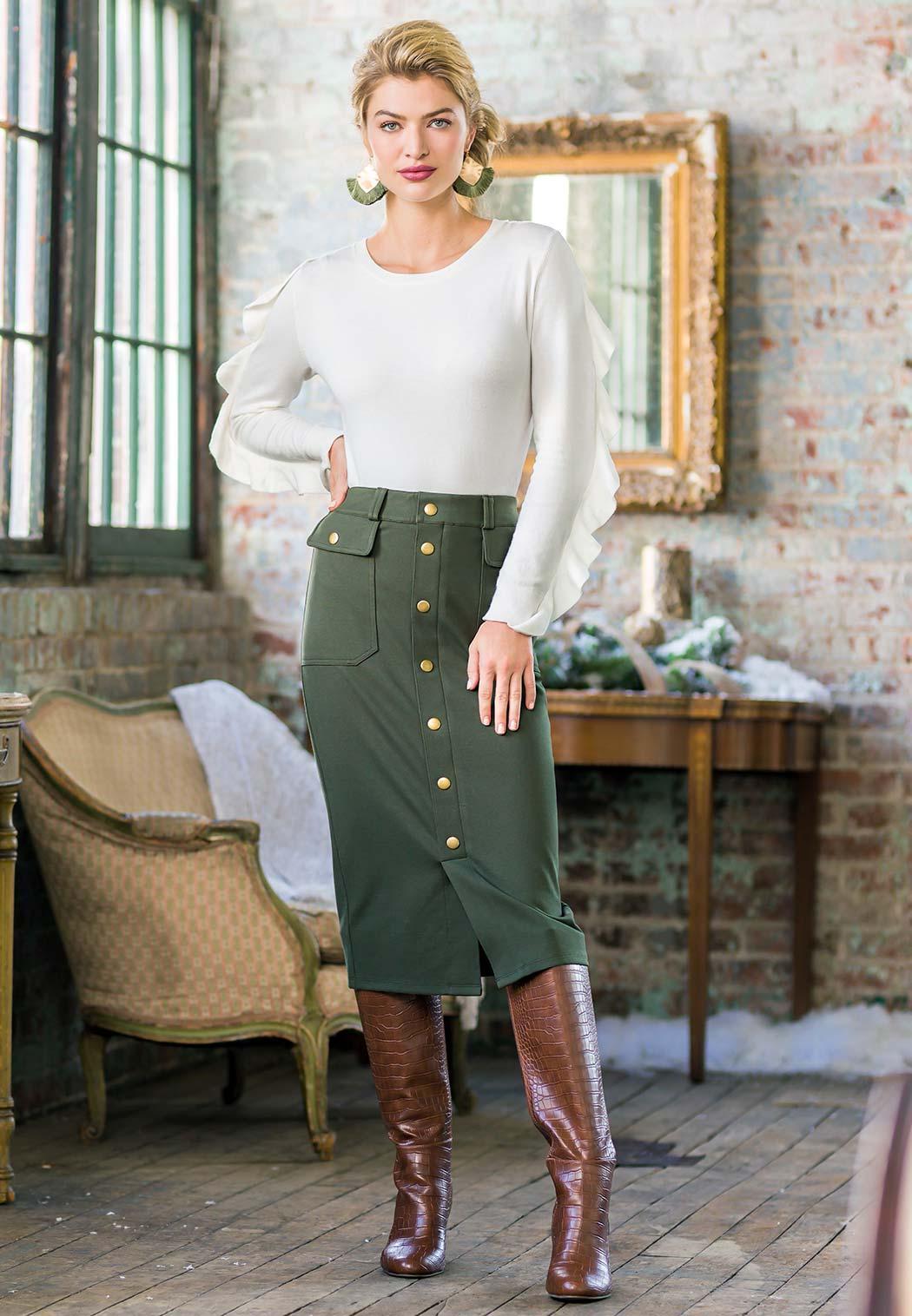 Utility Ponte Pencil Skirt (Item #44057618)