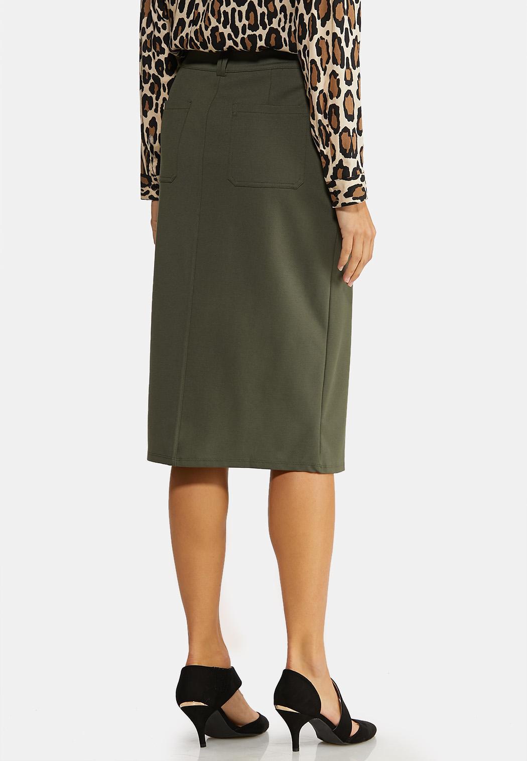 Plus Size Utility Ponte Pencil Skirt (Item #44057653)