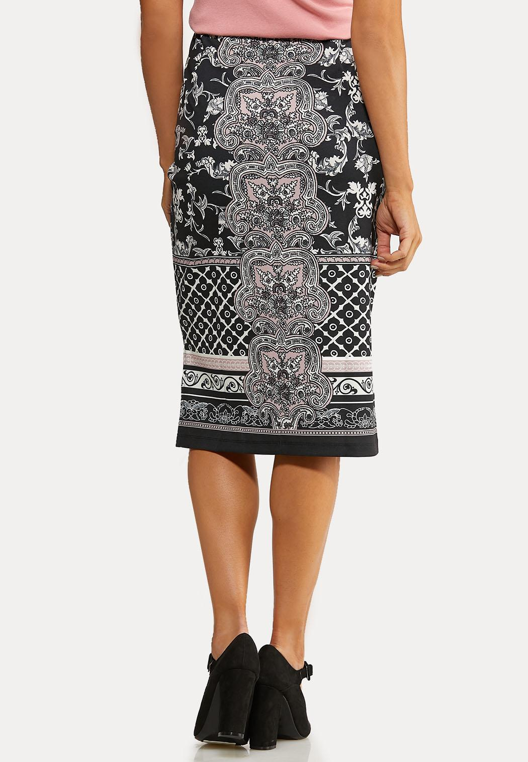 Plus Size Damask Mix Pencil Skirt (Item #44057675)