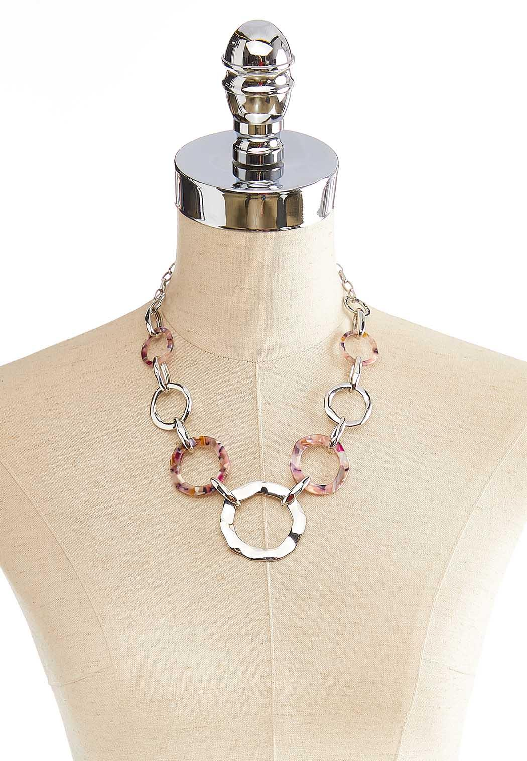 Lucite Metal Ring Necklace (Item #44058646)
