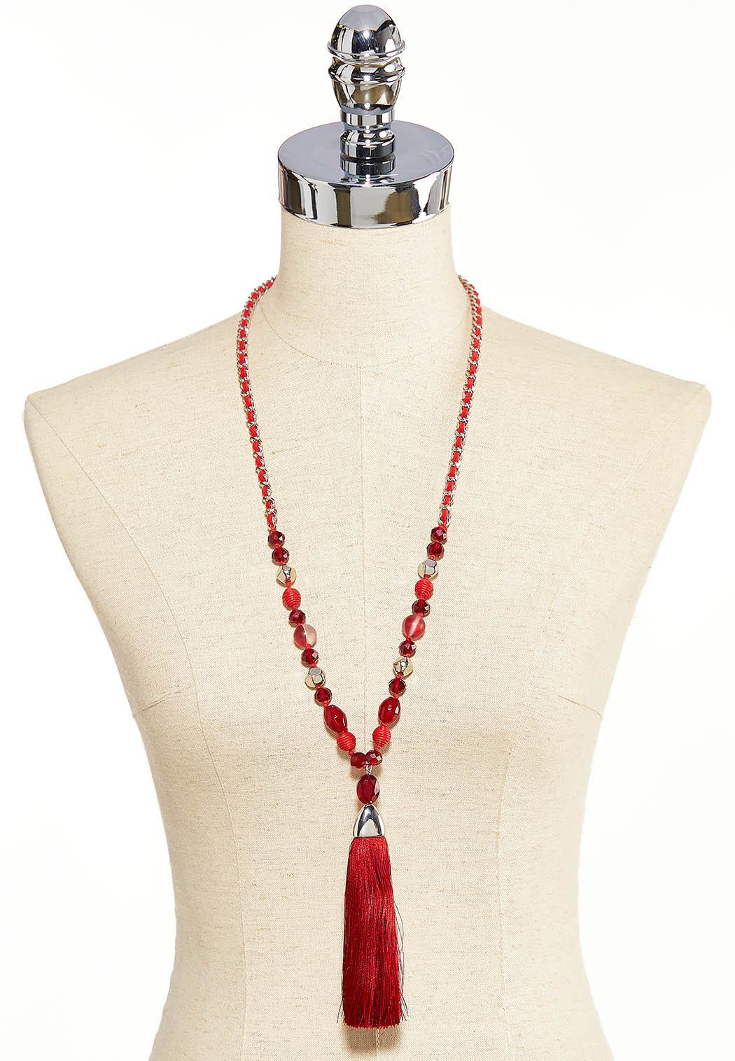 Fabric Tassel Pendant Necklace (Item #44058663)