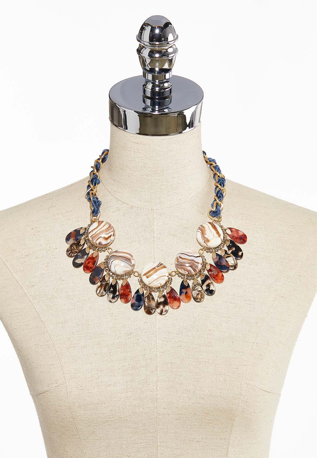 Marbleized Lucite Bib Necklace (Item #44058688)