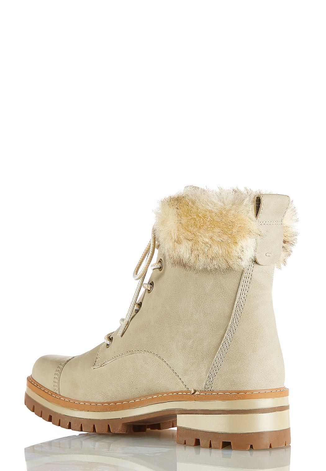 Wide Width Faux Fur Cuff Hiker Boots (Item #44058874)